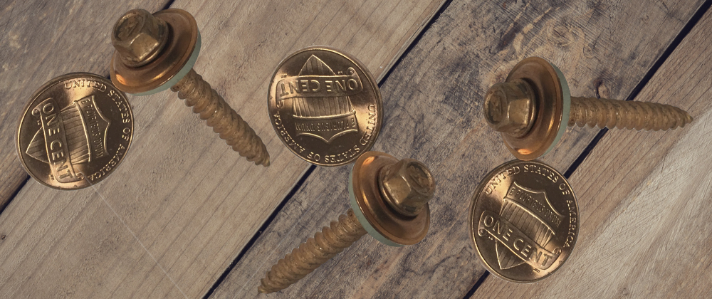 copper screws with pennies