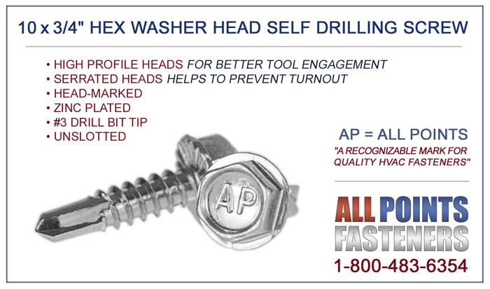Hex Neo Tek Rubber Washer 10 x 1 Self-Drilling Roofing Siding Screw Bulk 2,500