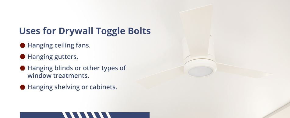 Uses for drywall toggle bolts.